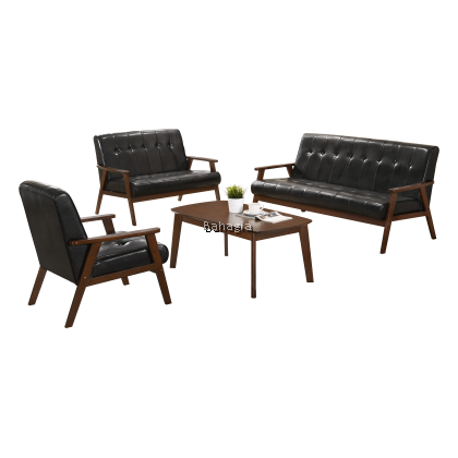 RAINFOREST Vento Leather Sofa Set + Coffee Table