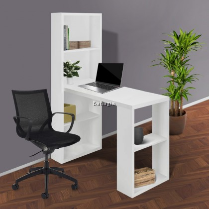 OKLAY STUDY TABLE L-SHAPE (White only)
