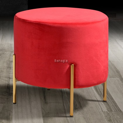 Coli Round Stool Velvet Fabric