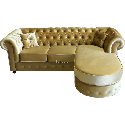 Lenorita L-Shape Sofa / Velvet golden L-Shape sofa