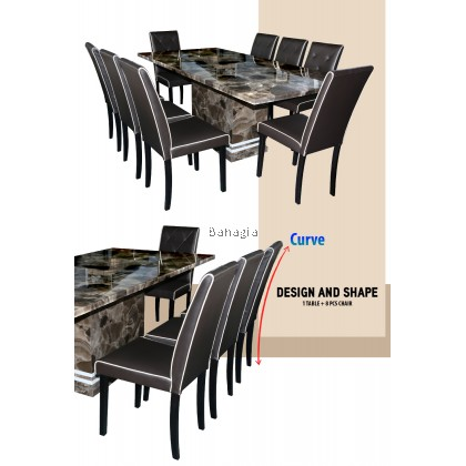 Celic Marble Table Grey Dining Set (1 Table Dining + 8 Dining Chair)